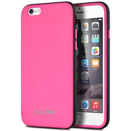 ULAK Slim Fit TPU Protective Hybrid Bumper Case for Apple iPhone 6S 6 4.7 Inch(Rose/Black)