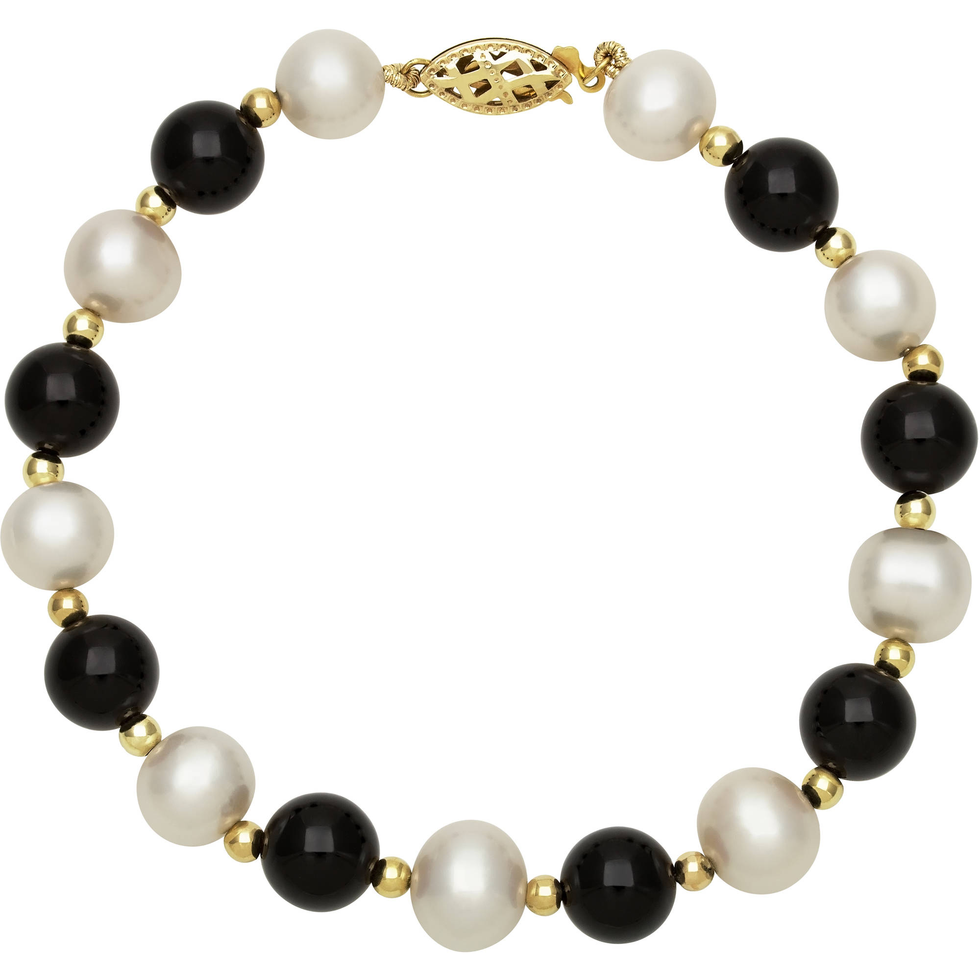 Genuine Cultured Freshwater Pearl and Black Onyx 14K Yellow Gold Strand Bracelet, 7.5
