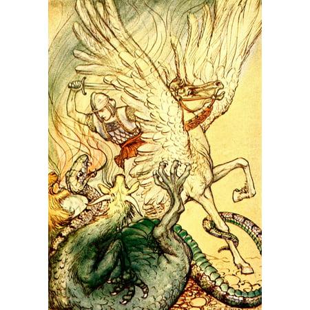 A Wonder Book For Girls   Boys 1913 Bellerophon Made A Cut At The Monster Canvas Art   Milo Winter  24 X 36