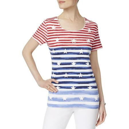 Karen Scott Womens Americana Striped Print Short Sleeves Casual - Americana Stripe