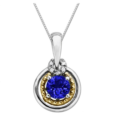 5/8 ct Sapphire Pendant Necklace with Diamonds in Sterling Silver & 14kt Gold