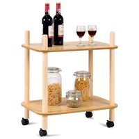 Costway 2 Tier Serving Cart Lockable Caster Rolling Utility Storage Rack Organizer