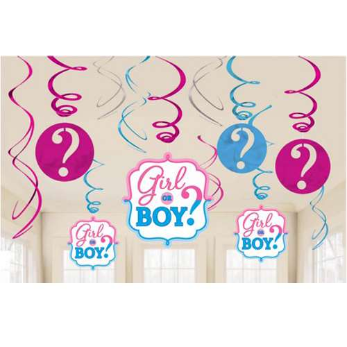 Baby Shower Gender Reveal 'Girl or Boy' Hanging Swirl Decorations (12pc)](Gender Reveal Party Decorations)
