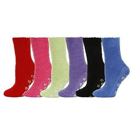 Mamia 6 Pairs Women's Cozy Slipper Socks Fuzzy Sock Multi Color (Plain With Non Skid (Non Skid Bottom)