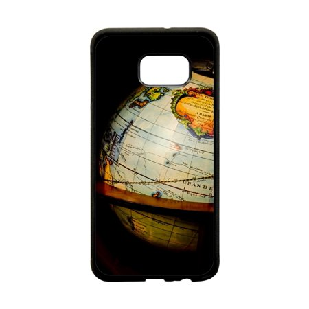 Glyde Phone - Vintage Style Globe Design Black Plastic Protective Phone Case That Is Compatible with the Samsung Galaxy s8