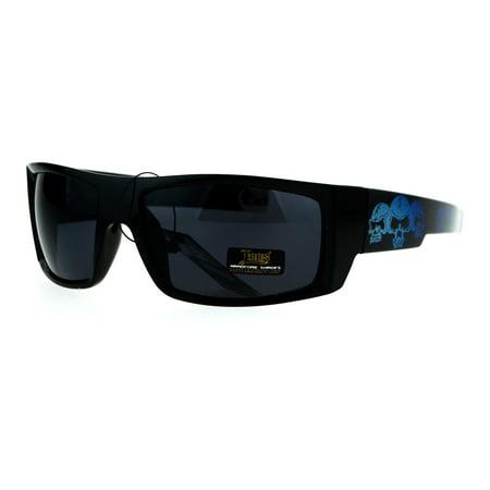 Locs Skull Print Rectangular Gangster Cholo Sport All Black Sunglasses Blue