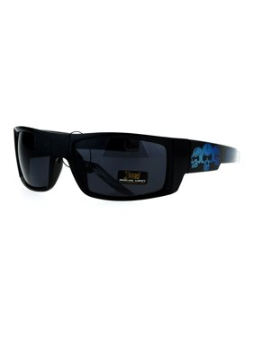 6d162b79a8c Product Image Locs Skull Print Rectangular Gangster Cholo Sport All Black  Sunglasses Blue