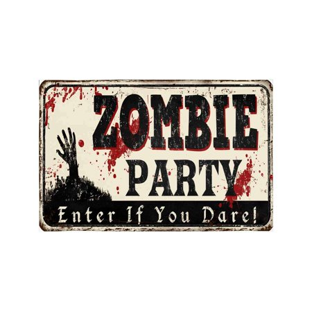 MKHERT Zombie Party Vintage Rusty Metal Sign Halloween Theme Placemats Table Mats for Dining Room Kitchen Table Decoration 12x18 inch,Set of 6](Halloween Themed Meal)