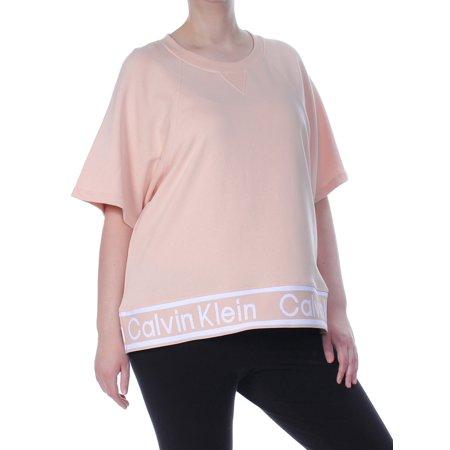 CALVIN KLEIN Womens Pink Logo Short Sleeve Top Plus Size: 1X
