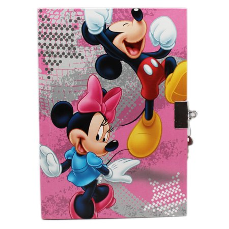 Disney's Mickey and Minnie Mouse Pink/Gray Colored Cover Diary w/Lock