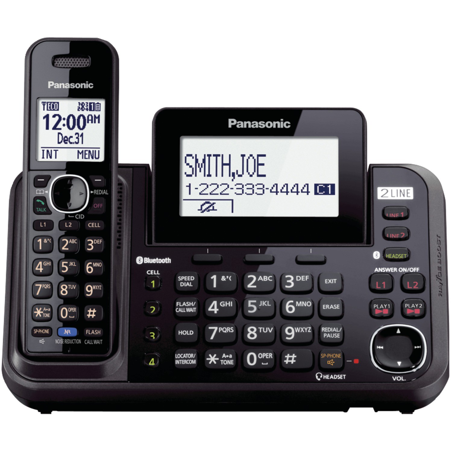 Panasonic Kx-tg9542b Dect 6.0 Link2cell 2-line 2-handset Bluetooth Phone System