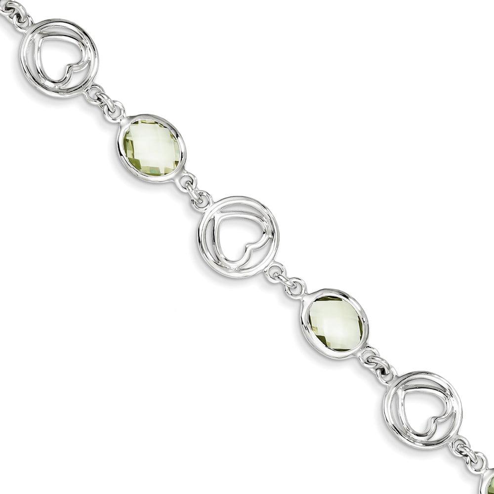 Sterling Silver Green Quartz Bracelet. Gem Wt- 8.72ct