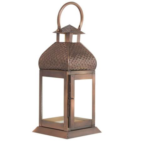 Metal Antique Copper Finish Large Lantern Candle Holder - Pillar Candle Holder ()