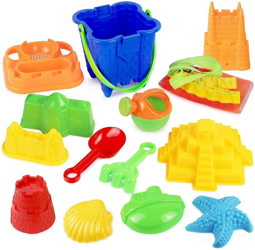 Click N Play 13 Piece Sand Castle Mold Beach Toy Set For Kids