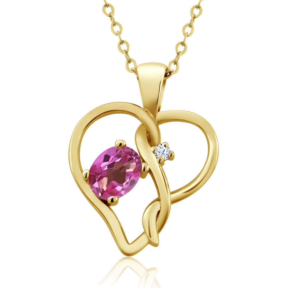 0.56 Ct Oval Pink Mystic Topaz White Topaz 18K Yellow Gold Pendant by