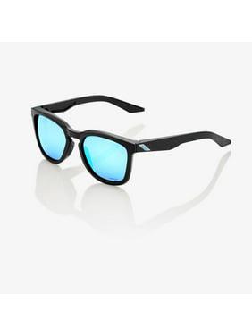 100% Hudson Sunglasses: Matte Black with HiPER Blue Multilayer Mirror Lens