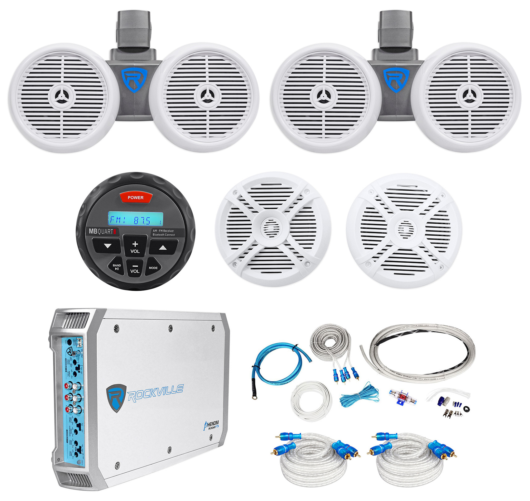"""""""(2) Rockville Dual 6.5"""""""" Wakeboards+(2) 6.5"""""""" Speakers+4-Ch Amp+Bluetooth Receiver"""""""
