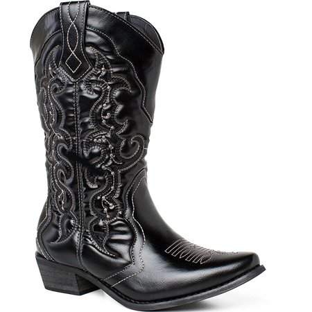 Calf Western Boots (SheSole Ladies Western Cowgirl Cowboy Boot Mid Calf Shoes Black)