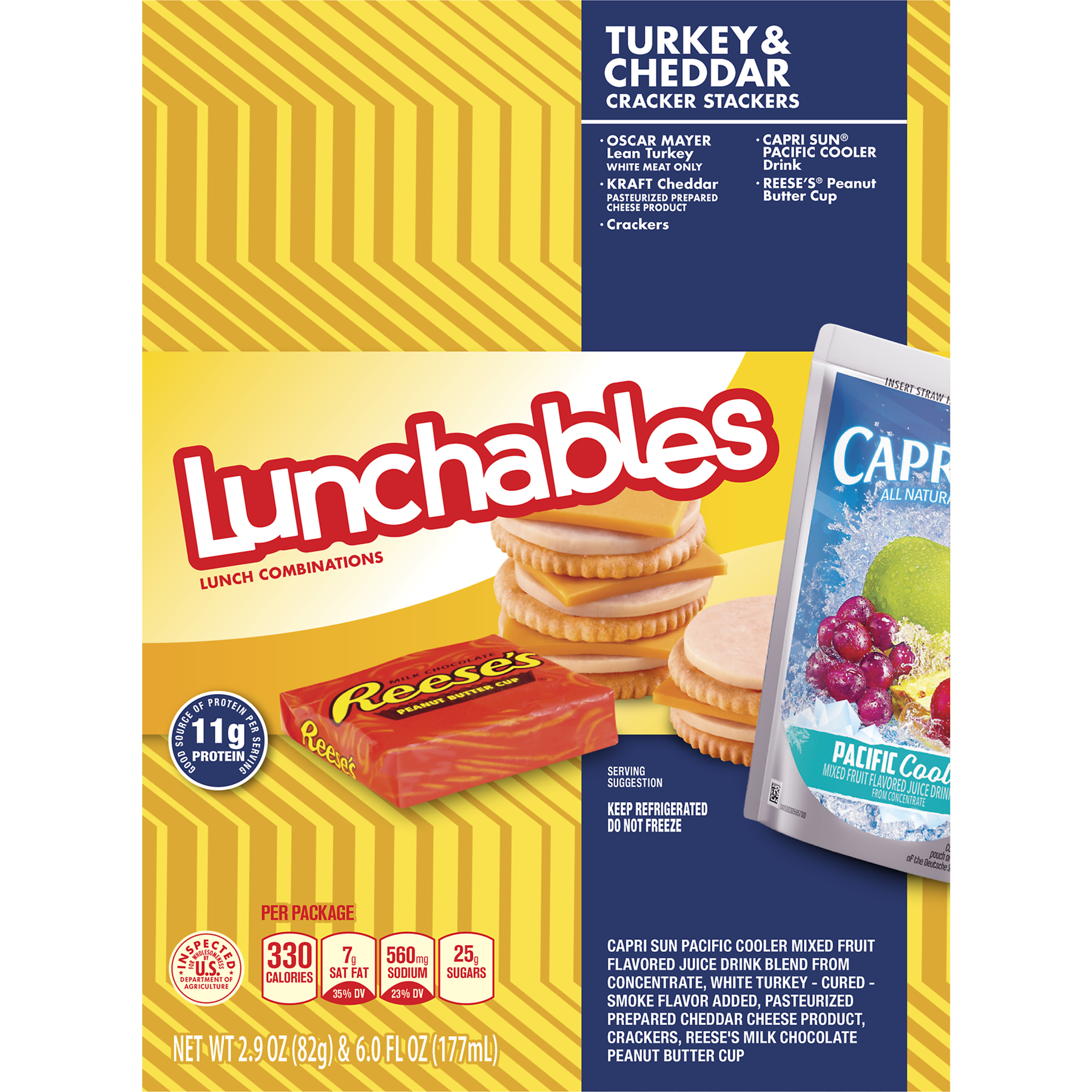 Lunchables Turkey & Cheddar Cheese Slices Cracker Stackers, Capri Sun & Reese's Lunch Combinations, 8.9 OZ