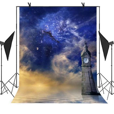 HelloDecor Polyster 5x7ft Blue Fantasy Photography Backdrop Blue Sky Brick Wall Clock Stone Floor Background Wedding Photography Studio Props Party Photo Booth Background - Stone Wall Background