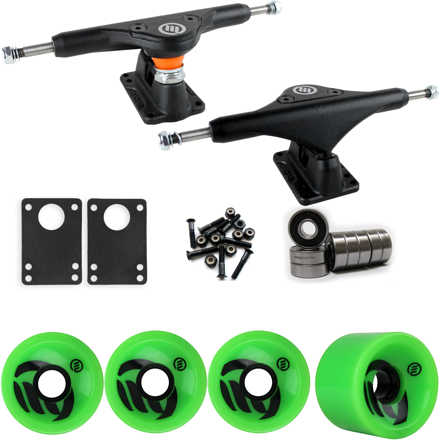 Longboard Trucks Wheels Package METHOD VELOCITY GREEN 70mm 80A ZC 170MM BLACK