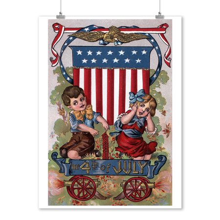 Fourth of July Greeting - Kids Lighting Fireworks - Vintage Holiday Art (9x12 Art Print, Wall ...