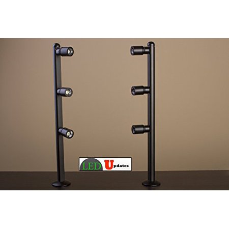 - 2 showcase display LED spot Light black pole style FY-53 set with UL listed 12v 2A power supply