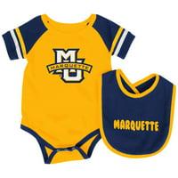 Marquette Golden Eagles Colosseum Newborn & Infant Roll-Out Bodysuit & Bib Set - Gold/Navy