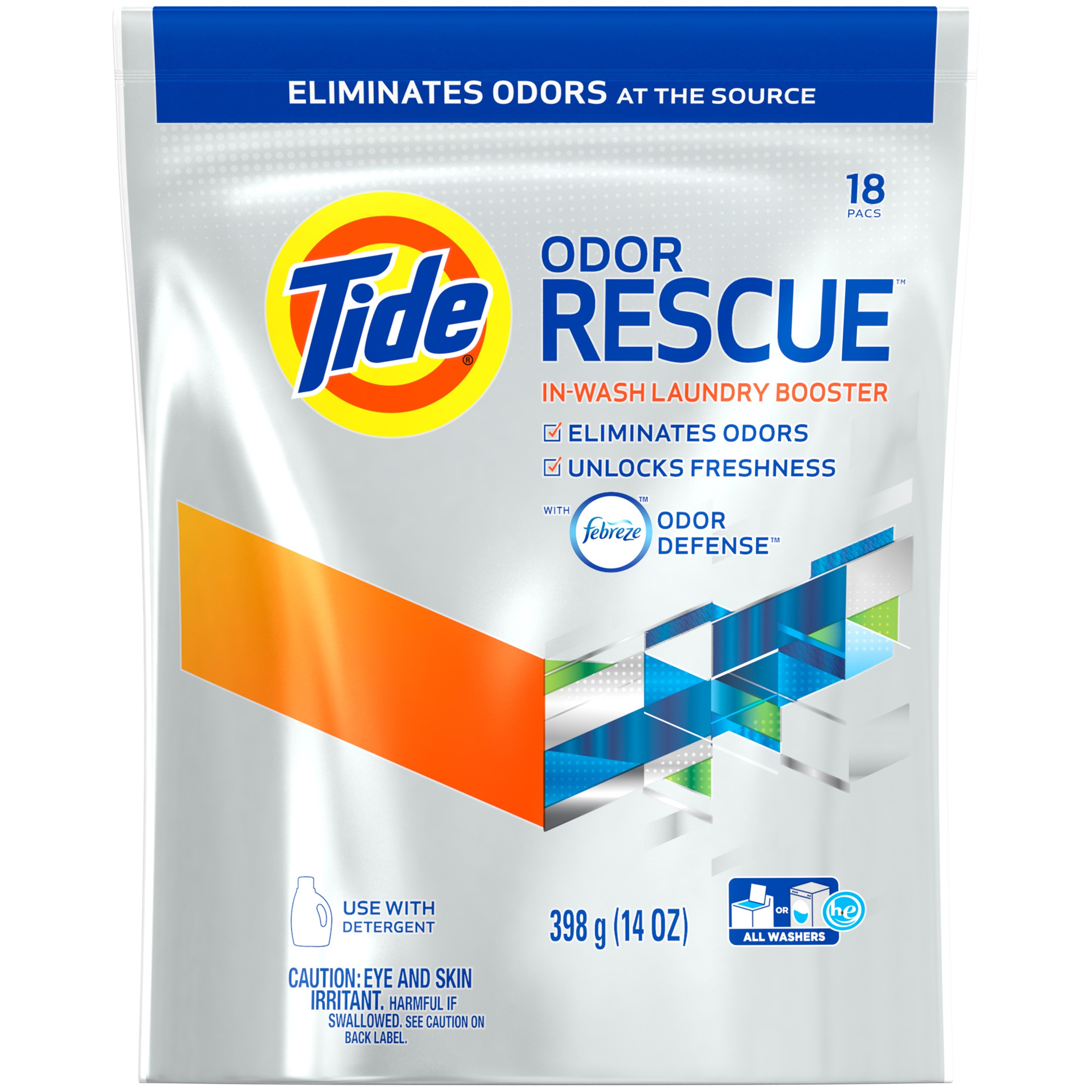 Tide Odor Rescue In-Wash Laundry Booster Detergent Pacs, 18 count, 14 oz -  Walmart.com