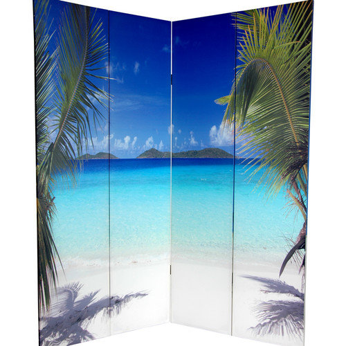 Oriental Furniture 72'' x 63'' Double Sided Ocean 4 Panel Room Divider