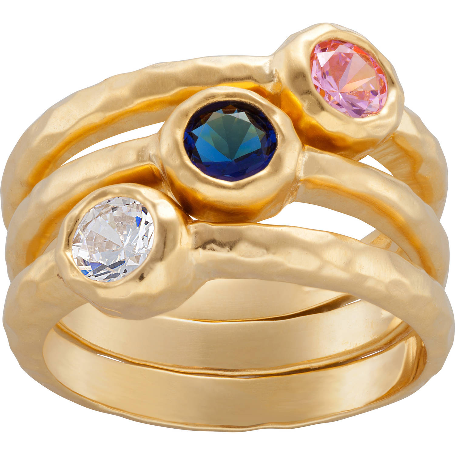 Personalized Sandra Magsamen Antique Gold over Sterling Silver Stackable Birthstone Ring Set