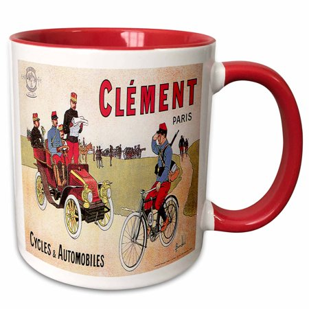3dRose Vintage Clement Paris Cycles and Automobiles Advertising Poster - Two Tone Red Mug, 11-ounce