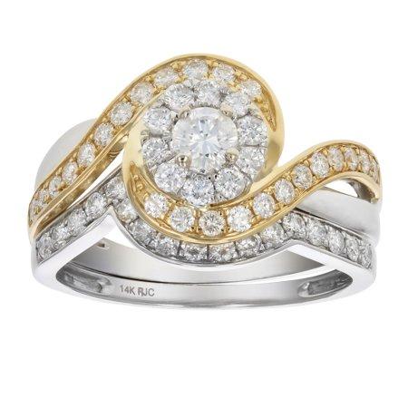 1 CT Diamond Wedding Engagement Ring Set 14K Two Tone (2 Ct Diamond Wedding Rings)