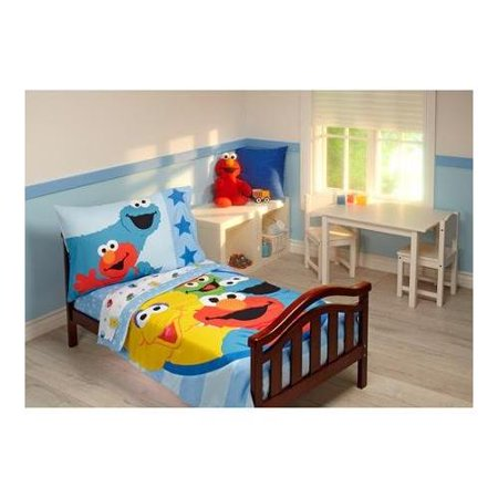 Sesame Street 4 Piece Toddler Bedding Set Furry Friends