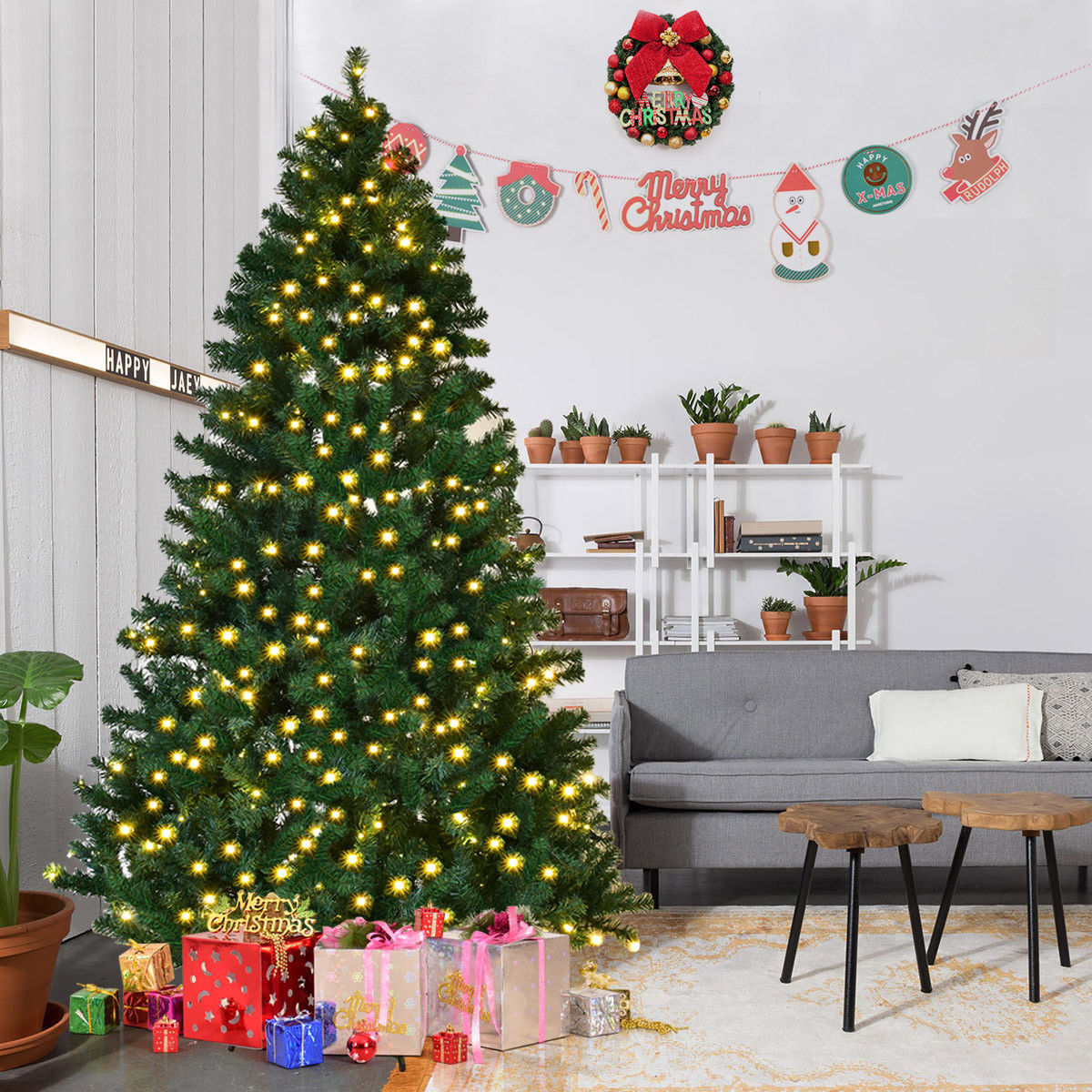 Costway 7Ft/7.5Ft/8Ft Pre-Lit PVC Artificial Christmas Tree Hinged w/ 300/400/430 LED Lights & Stand Green