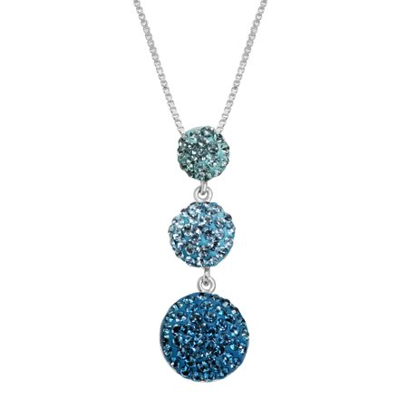 Crystaluxe Graduated Pendant Necklace With Royal Blue Swarovski Crystals In Sterling Silver
