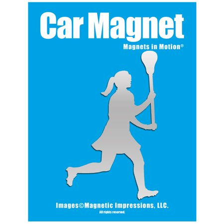 Lacrosse Female Player Car Magnet Chrome (Lacrosse Decorations)
