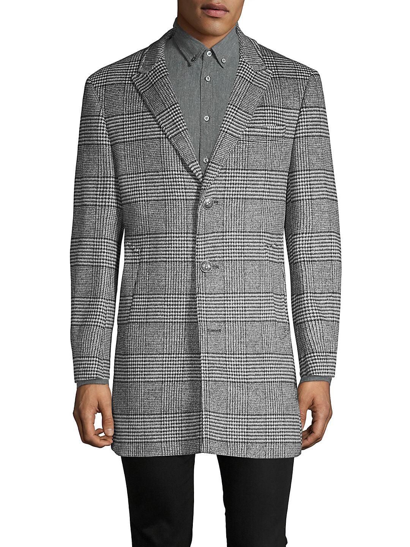 Glen Plaid Wool-Blend Coat
