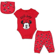 Disney Minnie Mouse 3 Pack Jogger, Onesie and Bib Set for Girls, Bodysuit Bundle for Baby, Red, Size 6M