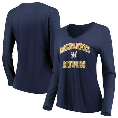 - Women's Majestic Navy Milwaukee Brewers Heart & Soul Long Sleeve V-Neck T-Shirt