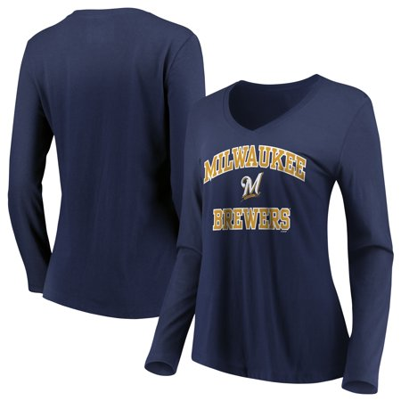 Women's Majestic Navy Milwaukee Brewers Heart & Soul Long Sleeve V-Neck T-Shirt