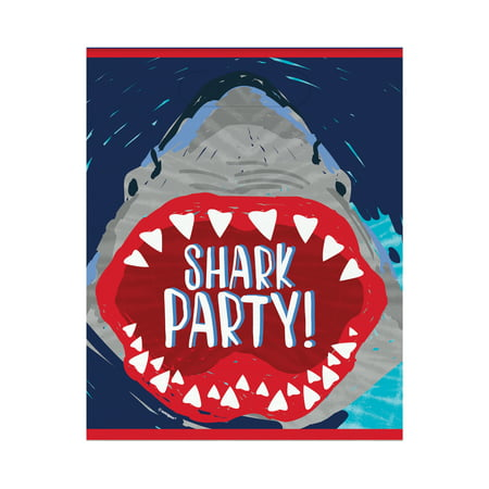 Plastic Shark Party Favor Bags, - Shark Party Invitations