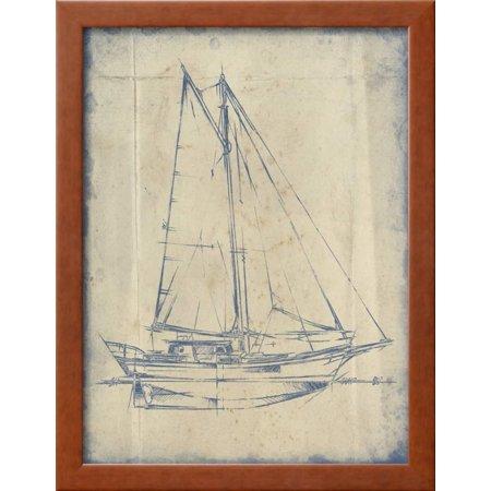 Yacht blueprint iii framed print wall art by ethan harper walmart malvernweather Image collections