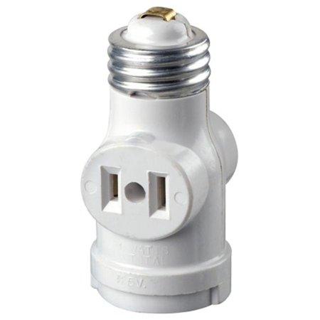 15 Amp White Residential Grade Medium Base Lampholder Outlet Adapter - Base Outlets
