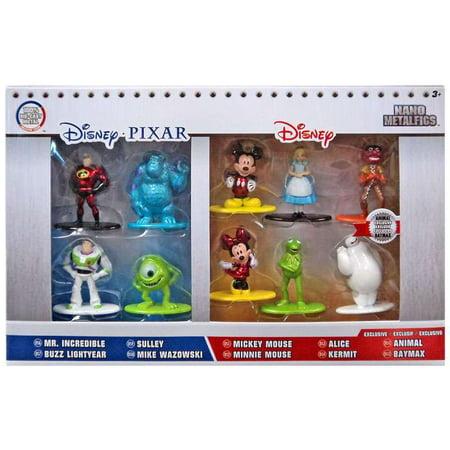 Disney / Pixar Nano Metalfigs Mr. Incredible, Buzz Lightyear, Mike Wazowski, Sulley, Mickey, Minnie, Alice, Animal, Kermit & Baymax Diecast Figure 10-Pack