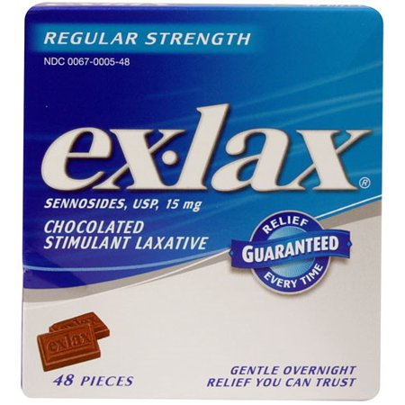 Ex Lax Regular Strength Chocolated Stimulant Laxative Pieces  48 Ct