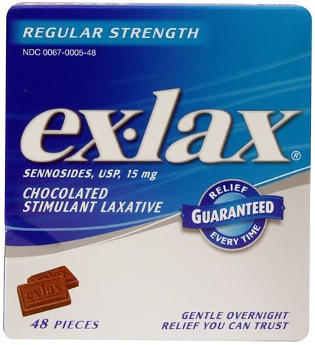 ex-lax Regular Strength Chocolated Stimulant Laxative Pieces, 48 Ct