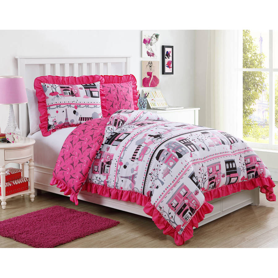 VCNY Pink Paris Elisa Ruffle Reversible Kids Bedding Comforter Set