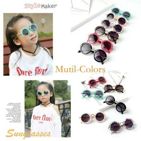 Kids ANTI-UV Glasses Candy Colors Boys Girls Children Round Sunglasses (Sunglasses Candy Color)