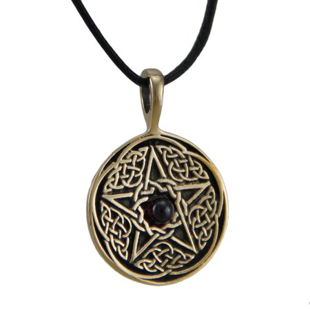 Bronze Finish Celtic Pentacle Pendant w/ Garnet Cabochon